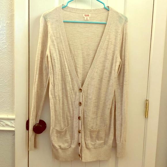 Mossimo Supply Co. Sweaters - Long Tan Boyfriend Cardigan
